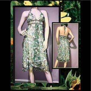 RUBY ROX • Green Paisley Halter Dress / (S) NWOT